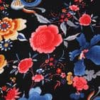 Polyester Bubble Crepe Dress Fabric -  Brightly Coloured Flowers on Black